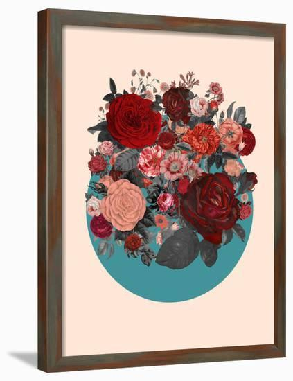 Red Floral Collage--Framed Art Print