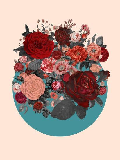 Red Floral Collage--Art Print