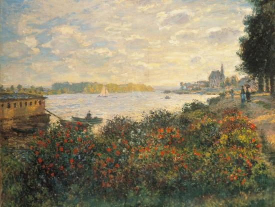 Red Flowers at the Bank at Argenteuil, 1877-Claude Monet-Premium Giclee Print
