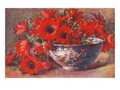 Red Flowers in Bowl--Art Print