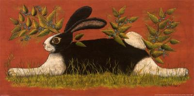 Red Folk Bunny-Lisa Hilliker-Art Print