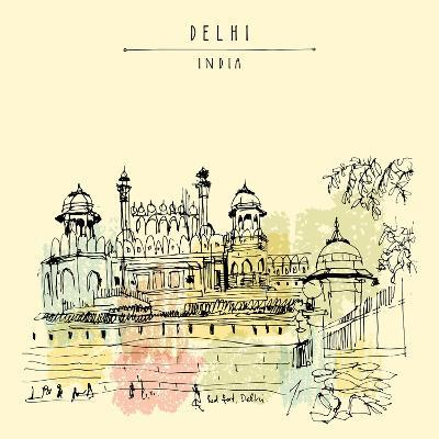 Red Fort In Delhi India Vintage Hand Drawn Postcard Template