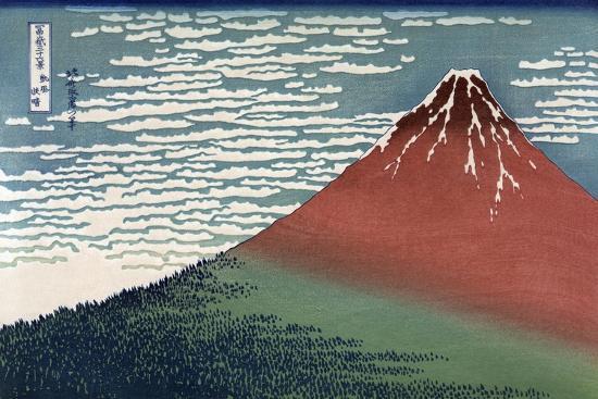 Red Fuji or South Wind, Clear Sky-Katsushika Hokusai-Stretched Canvas Print