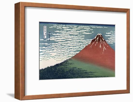 Red Fuji or South Wind, Clear Sky-Katsushika Hokusai-Framed Art Print