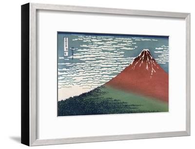 Red Fuji or South Wind, Clear Sky-Katsushika Hokusai-Framed Art Print