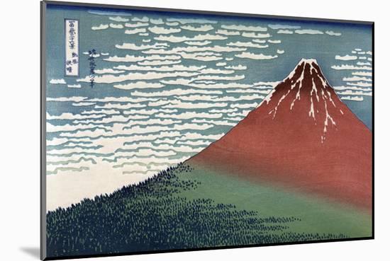 Red Fuji or South Wind, Clear Sky-Katsushika Hokusai-Mounted Art Print