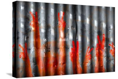Red Hand Prints - Peace Signs--Stretched Canvas Print