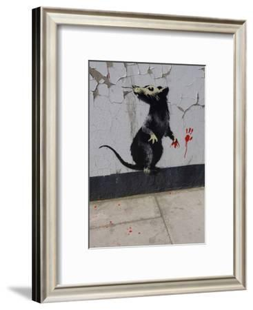 Red handed-Banksy-Framed Art Print