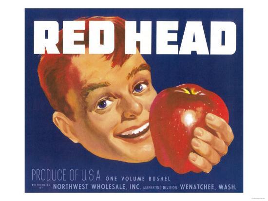Red Head Apple Label - Wenatchee, WA-Lantern Press-Art Print