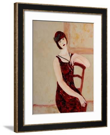 Red Head in Red Chair II, 2015-Susan Adams-Framed Giclee Print