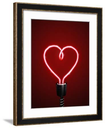Red Heart Shaped Energy Saving Lightbulb-Atomic Imagery-Framed Photographic Print