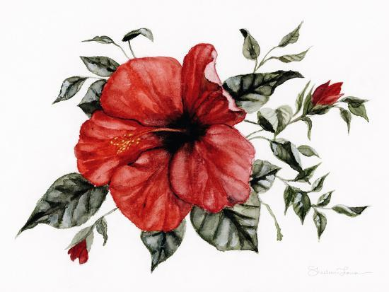 Red Hibiscus-Shealeen Louise-Art Print