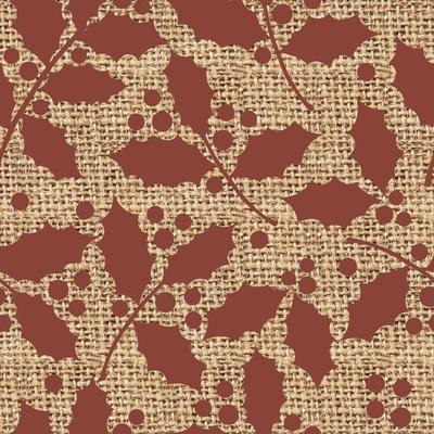 Red Holly Branches Burlap-Joanne Paynter Design-Giclee Print