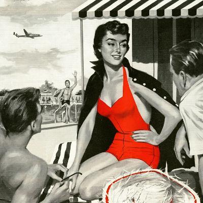 "Red Hot Woman  - Saturday Evening Post ""Leading Ladies"", May 22, 1954 pg.83-Artist Unkown-Giclee Print"