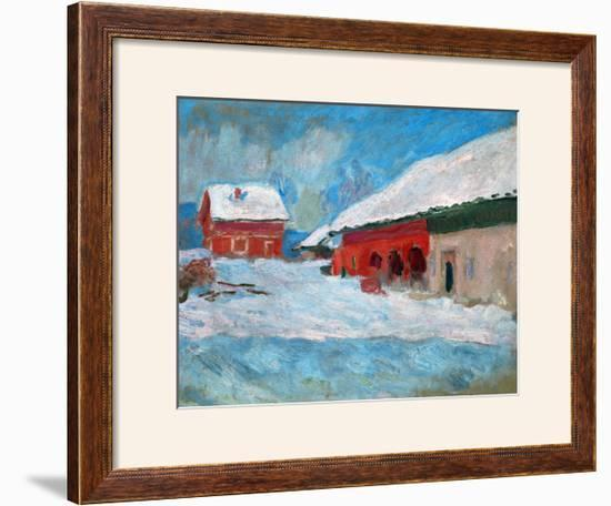 Red Houses at Bjoernegaard, Norway, 1895-Claude Monet-Framed Giclee Print