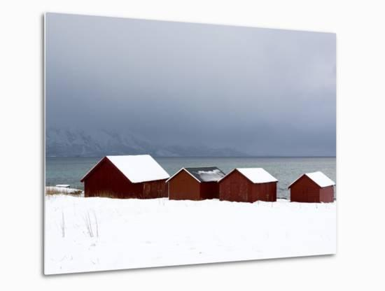 Red Houses by the Sea in a Snowy Winter Landscape-Sergio Pitamitz-Metal Print
