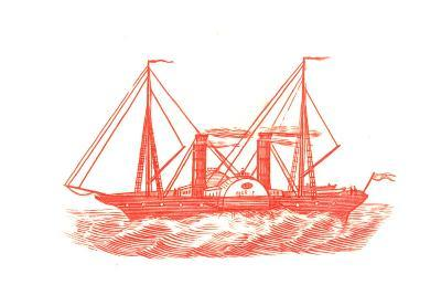 Red Illustration of Ship in Profile--Art Print