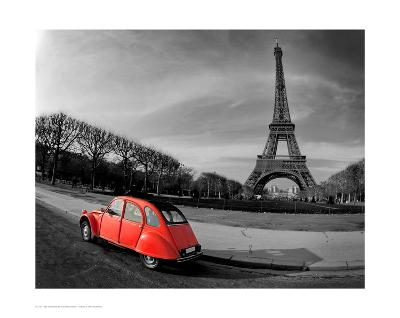 Red in Motion by the Eiffel Tower--Art Print