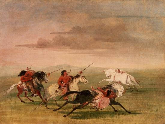 Red Indian Horsemanship-George Catlin-Giclee Print