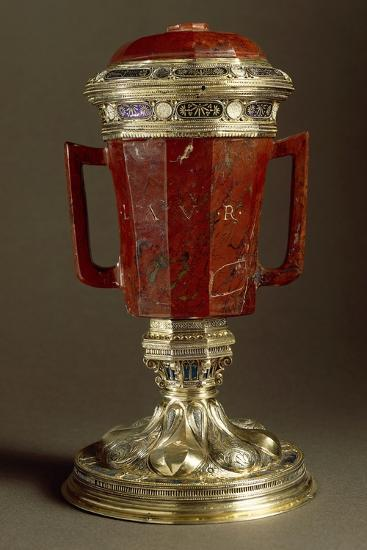 Red Jasper, Enameled Gilded Silver Vase with Two Handles and Lid--Giclee Print