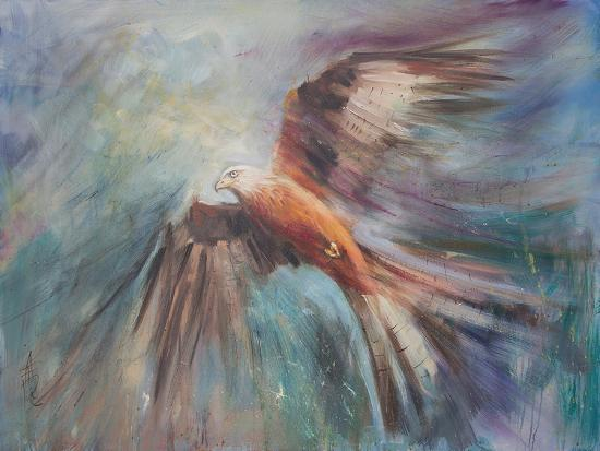 Red Kite Riding The Thermals 2-Anne Farrall Doyle-Art Print