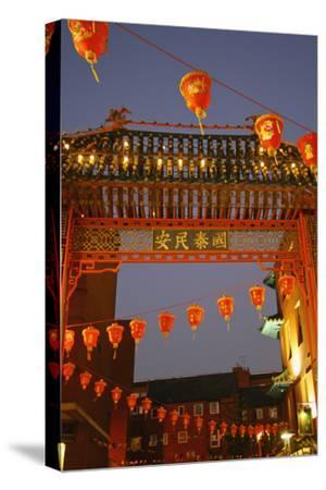 Red Lanterns and Gate on Gerrard Street in Chinatown London-Design Pics Inc-Stretched Canvas Print