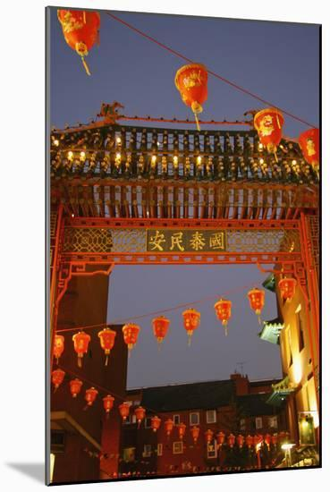 Red Lanterns and Gate on Gerrard Street in Chinatown London-Design Pics Inc-Mounted Photographic Print