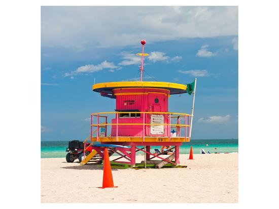 Red Lifeguardstand South Beach--Art Print