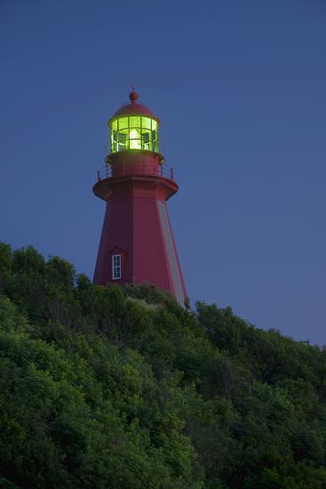 Red Lighthouse Illuminated; La Martre Quebec Canada-Design Pics Inc-Photographic Print