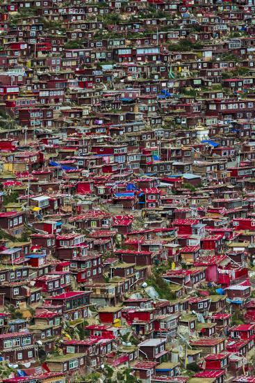 Red log cabins, Seda Larung Wuming, Garze, Sichuan Province, China-Keren Su-Photographic Print