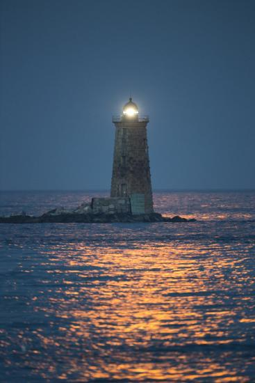 Red Moonlight Reflects Off Seawater in Front of Whaleback Lighthouse-Robbie George-Photographic Print