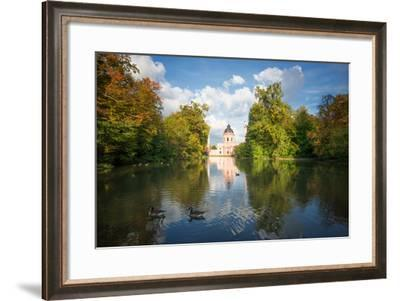 Red Mosque and Reflections in Autumn, Schwetzingen, Baden-Wurttemberg, Germany, Europe-Andy Brandl-Framed Photographic Print