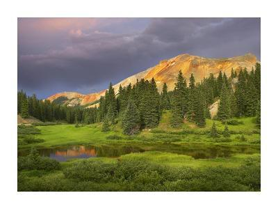 Red Mountain and pond, near Ouray, Colorado-Tim Fitzharris-Art Print