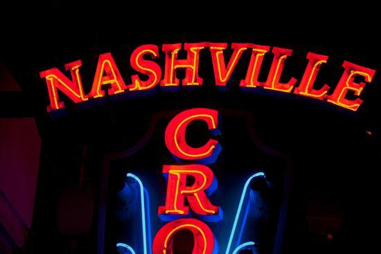 """Red Neon Sign Nashville Crossroads, """"Music City"""", Lower Broadway Area, Nashville, Tennessee, USA--Photographic Print"""