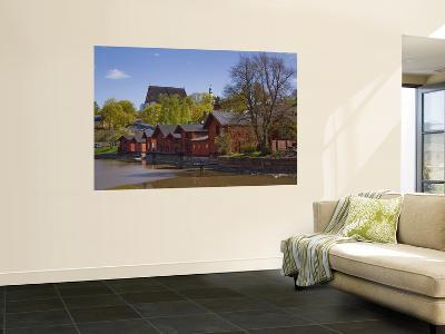 Red-Ochre Painted Shore Houses and Riverside Storage Buildings-Manfred Gottschalk-Wall Mural