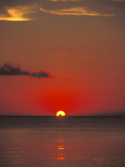 Red Orange Sunset on Horizon of Caribbean Sky-James Forte-Photographic Print
