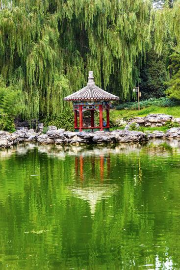 Red Pavilion Lotus Pads Garden Temple of Sun City Park, Beijing, China Willow Green Trees-William Perry-Photographic Print