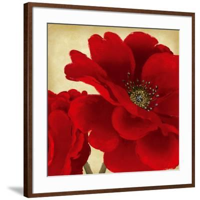 Red Peony I-Linda Wood-Framed Art Print