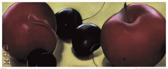 Red Plums and Cherries-Sylvia Gonzalez-Art Print