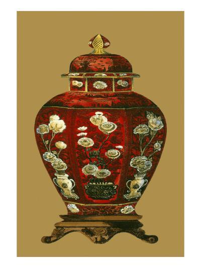 Red Porcelain on Golden Brown Pt I--Art Print
