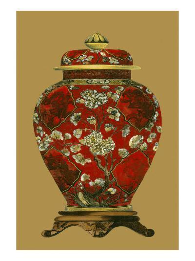 Red Porcelain on Golden Brown Pt II--Art Print