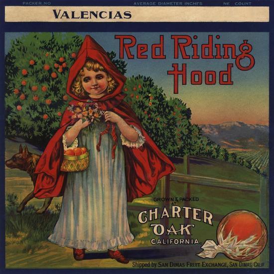 Red Riding Hood Brand - Charter Oak, California - Citrus Crate Label-Lantern Press-Art Print