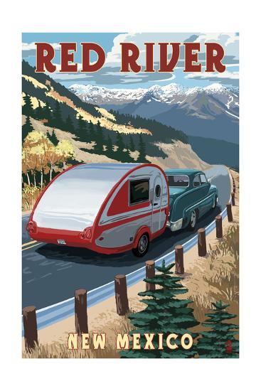 Red River, New Mexico - Fall Retro Camper-Lantern Press-Art Print