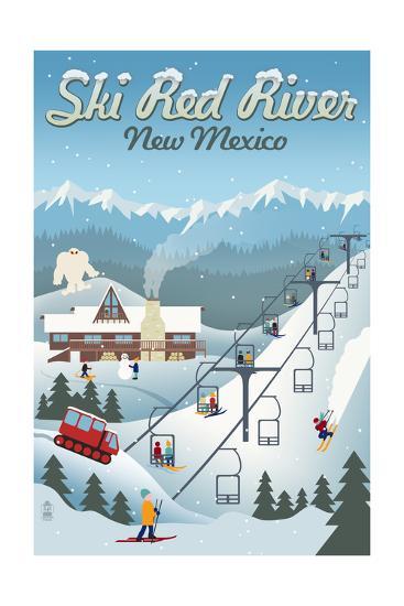 Red River, New Mexico - Retro Ski Resort-Lantern Press-Art Print
