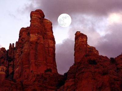 Red Rock with Moon and Sun-Margaret L. Jackson-Photographic Print