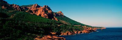 Red Rocks in the Late Afternoon Summer Light at Coast, Esterel Massif, French Riviera--Photographic Print