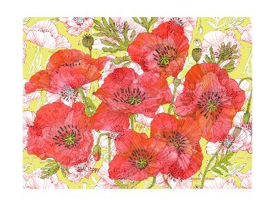 Red Romance Poppies, Group of Blooms and Floral Poppy-Robin Pickens-Art Print