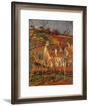 Red Roofs Corner Of A Village Winter Giclee Print By