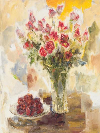 Red Roses in Crystal Vase-Yona-Premium Giclee Print