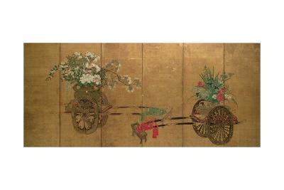Red Seal Six-Leaf Screen, Edo Period, Late 18th - Early 19th Century, Japanese--Giclee Print